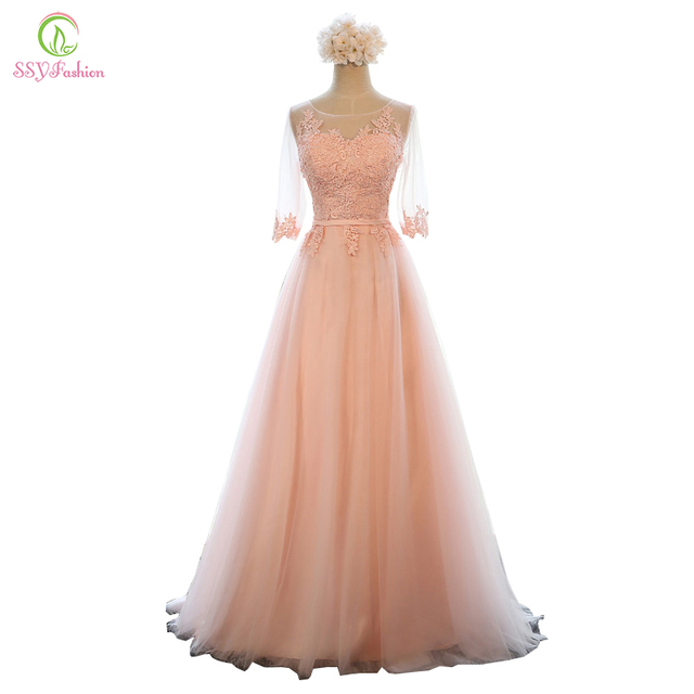 Evening Dress SSYFashion Banquet Sweet Pink Scoop Neck Half Sleeve Transparent Lace Embroidery A-line Long Prom Formal Dress