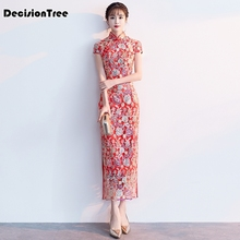 цены 2019 cheongsam lace qipao chinese dress mermaid evening traditional chinese qipao formal cheongsam dress wedding dress