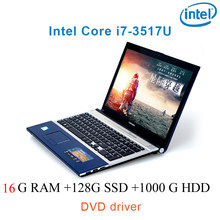 "P8-25 black 16G RAM 128G SSD 1000G HDD i7 3517u 15.6"" gaming laptop DVD driver keyboard and OS language available for choose(China)"