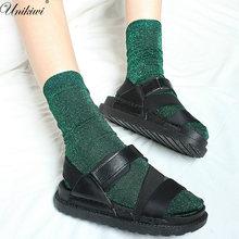 8 cores. chique feminino novidade glitter meias. ouro tira brilhante tornozelo meias. casual senhoras brilhantes retro sox pilhas meias femininas meias