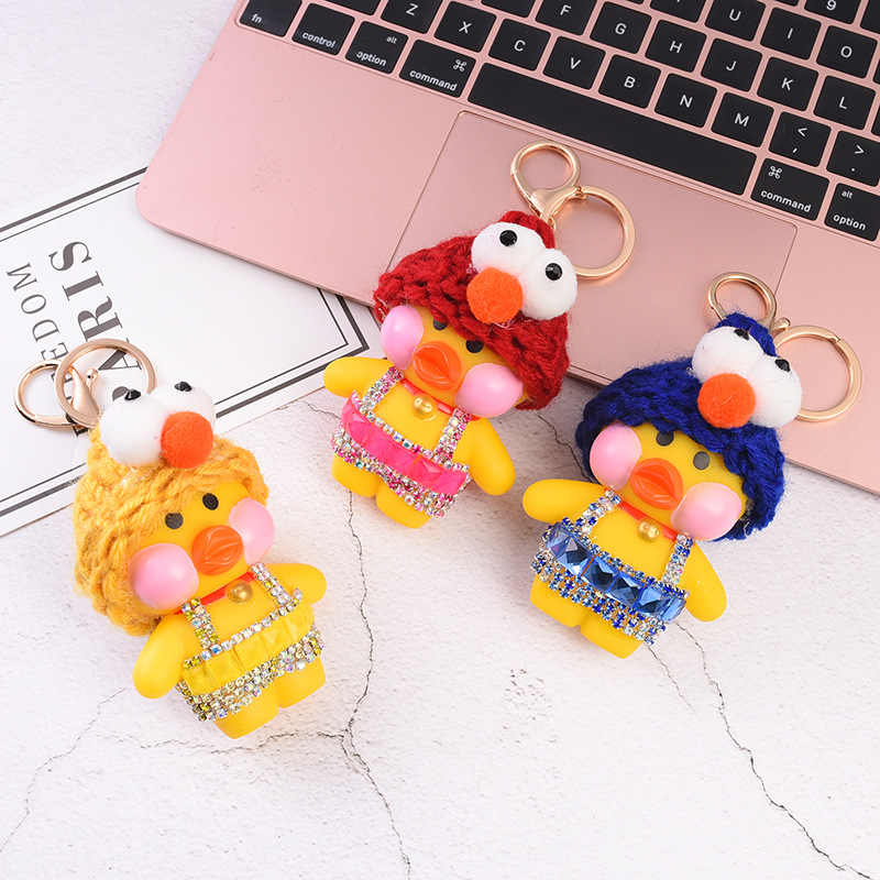 """מיני 6 ס""""מ lol קפה ברווז צעצוע בעלי החיים יפה קריקטורה ברווז בובת קריסטל Creative זוג מתנת Keychain Keyring אבזרים"""