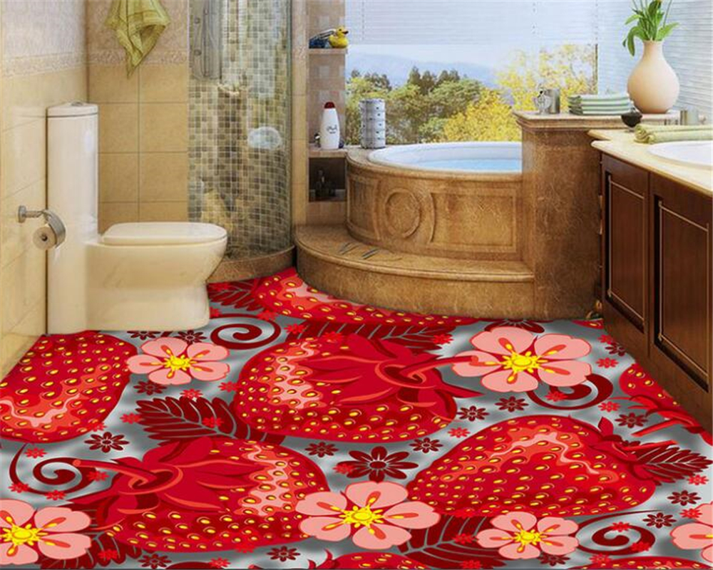 beibehang 3d flooring Indoor papel de parede 3d wallpaper sweet and delicious strawberry flower fashion kitchen home 3D fashion in Wallpapers from Home Improvement