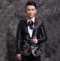 Черные мужские костюмы дизайн Homme TERNO Сценические костюмы для певцов мужчины вышитые Блейзер Танцы одежда куртка звезда стильное платье