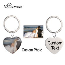 Customized Stainless Steel Heart Keychain Personalized Silver Color Tag Round Ring Charm Key Chain Engraving Words Jewelry Gift