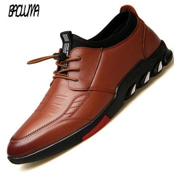 2019 klasyki męskie obuwie skórzane męskie buty wsuwane sznurowane męskie mokasyny oddychające buty do jazdy wsuwane mokasyny tanie i dobre opinie BAOLUMA Skóra Split Gumowe NONE Podstawowe Lace-up Stałe Wiosna jesień Pasuje prawda na wymiar weź swój normalny rozmiar