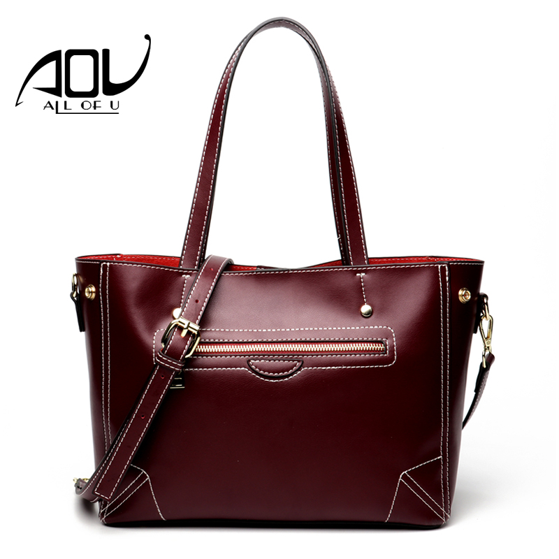 AOU Brand Women's Cow Leather Handbags Female Shoulder bag designer Luxury Lady Tote Large Capacity Zipper Handbag for Women women s leather red handbags female black shoulder bag designer luxury lady grey totes large capacity zipper handbag for women