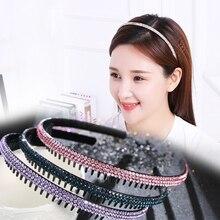 Mulheres Acessório Do Cabelo com Os Dentes de Cristal Cheio Shinning Checa Strass Breve Elegante Hairwear Hairband Headband do Doce 6 cores