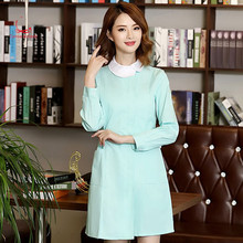 Nurse dress long sleeve slim body white gown baby collar winter clothing pharmacy work clothes skirt beauty parlor