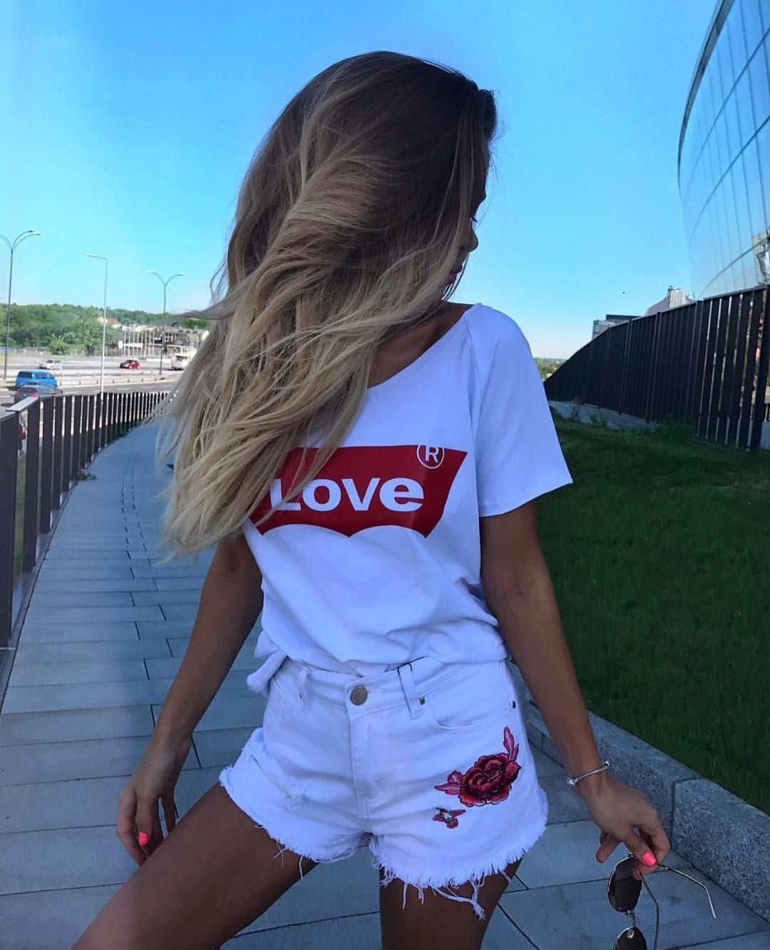 Amour   T  -  Shirt   Casual Cotton Red Letter Printed Love   Shirt   Feminist Women English Letter Love   T     Shirt   Plus Size Korean Style