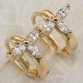 Прекрасный Элегантный Красивый Белый CZ Камни Хооп Серьги Желтый Позолоченные Ювелирные Изделия Подарок Для Женщин EB083A