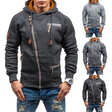 2018 High Quality Men Hoodies Winter Drawstring Zipper Hooded Sweatshirt Male Long Sleeve Pocket Pullover Hoodie Coat Plus Size(China)