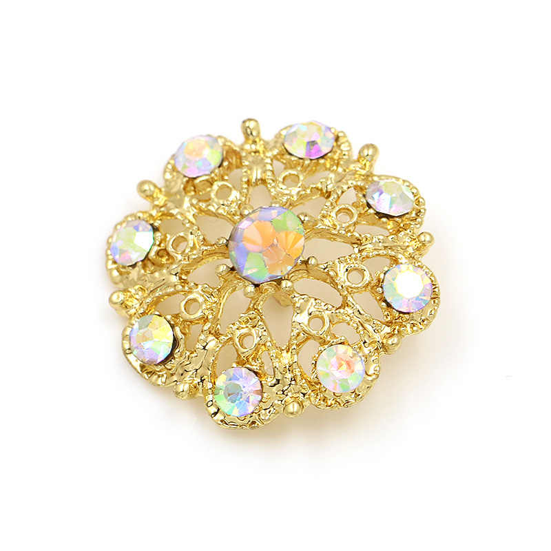 10 pcs/pack AB Crystal Small Flower Brooch Fasteners Fashion Garment Accessories
