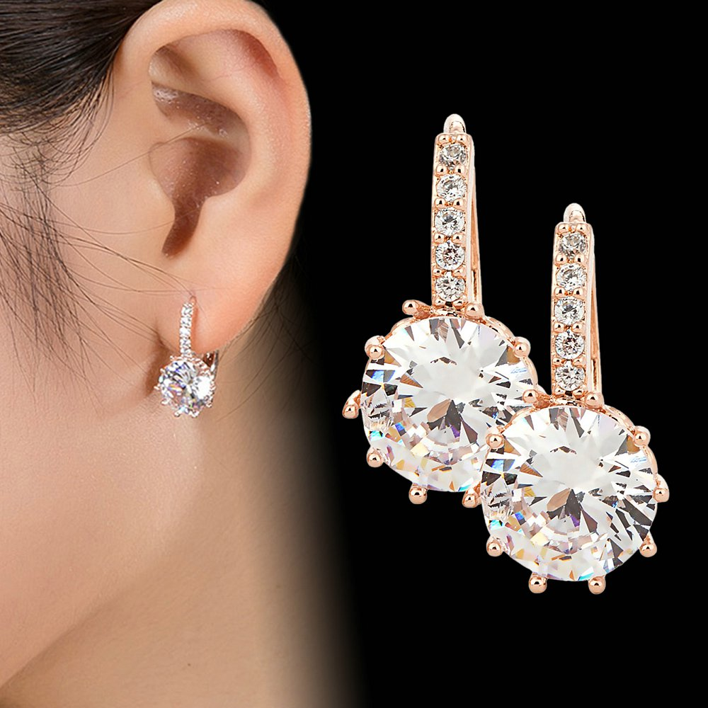 2018 New Vintage Earrings Rose Gold Crystal CZ Bling Drop Earrings for Women Girls Christmas Gfit Fashion Wedding Jewelry