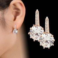 2018 neue Vintage Ohrringe Rose Gold Kristall CZ Bling Ohrringe für Frauen Mädchen Weihnachten Gfit Mode Hochzeit Schmuck