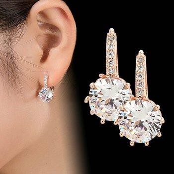 Jiayiqi New Vintage Earrings Rose Gold Crystal CZ Bling Drop Earrings For Women Girls Christmas Gfit Fashion Wedding Jewelry 1