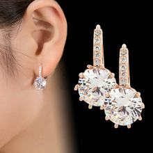 2018 New Vintage Earrings Rose Gold Crystal CZ Bling Drop Earrings for Women Girls Christmas Gfit Fashion Wedding Jewelry(China)