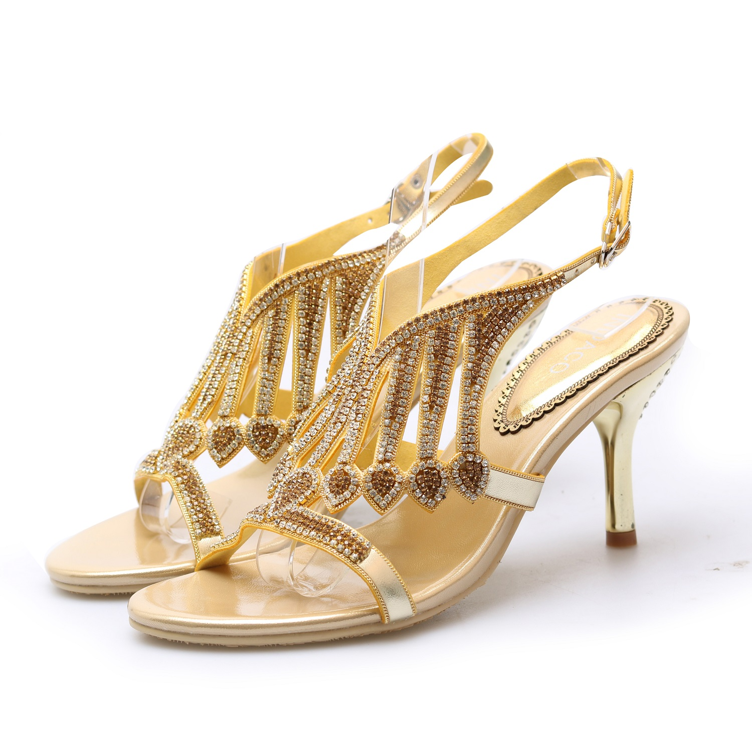 f10afa4bc0c Leather High Heels Sandals Women Summer Shoes Gold Silver Elegant  Rhinestone High heeled Shoes Large Size 44 Chaussure Femme-in High Heels  from Shoes on ...