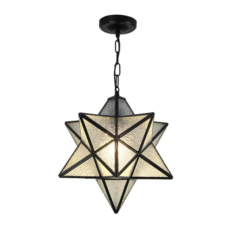 American Country Moravian Star Textured Glass Pendant Lamp Creative Pendant Light Nordic Bedroom Bar Corridor Aisle Hanglamp