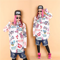 Rich doodle hiphop bulldog low-high loose shirts HARAJUKU hiphop street style