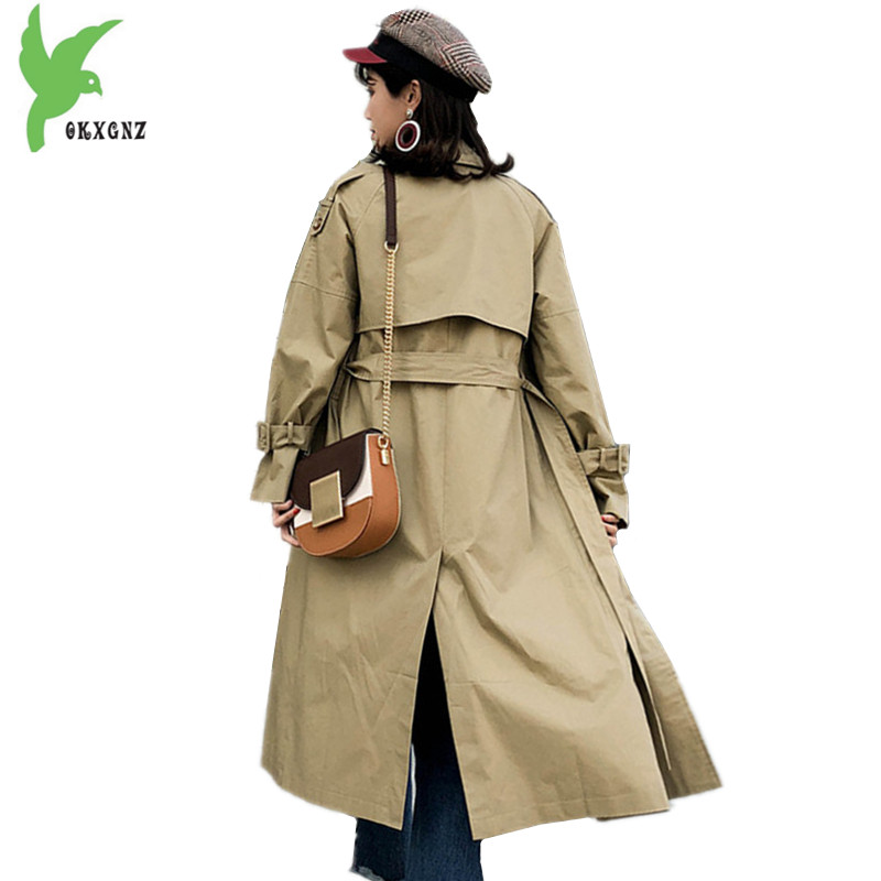 New Women Trench Coat Spring Autumn embroidery Long section Windbreaker Large size Solid color Outerwear Street style OKXGNZ1413