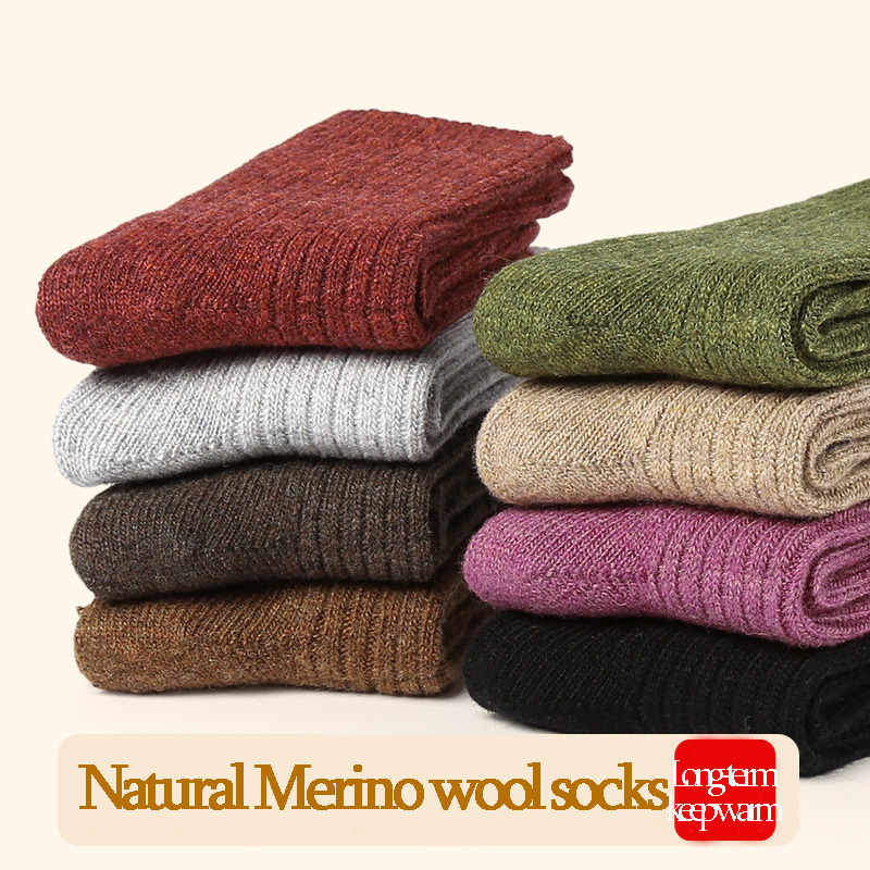 VVQI women Merino wool   socks   brand   sock   Japanese style thick winter warm cashmere   socks   in tube slippers   socks   Simple style crew
