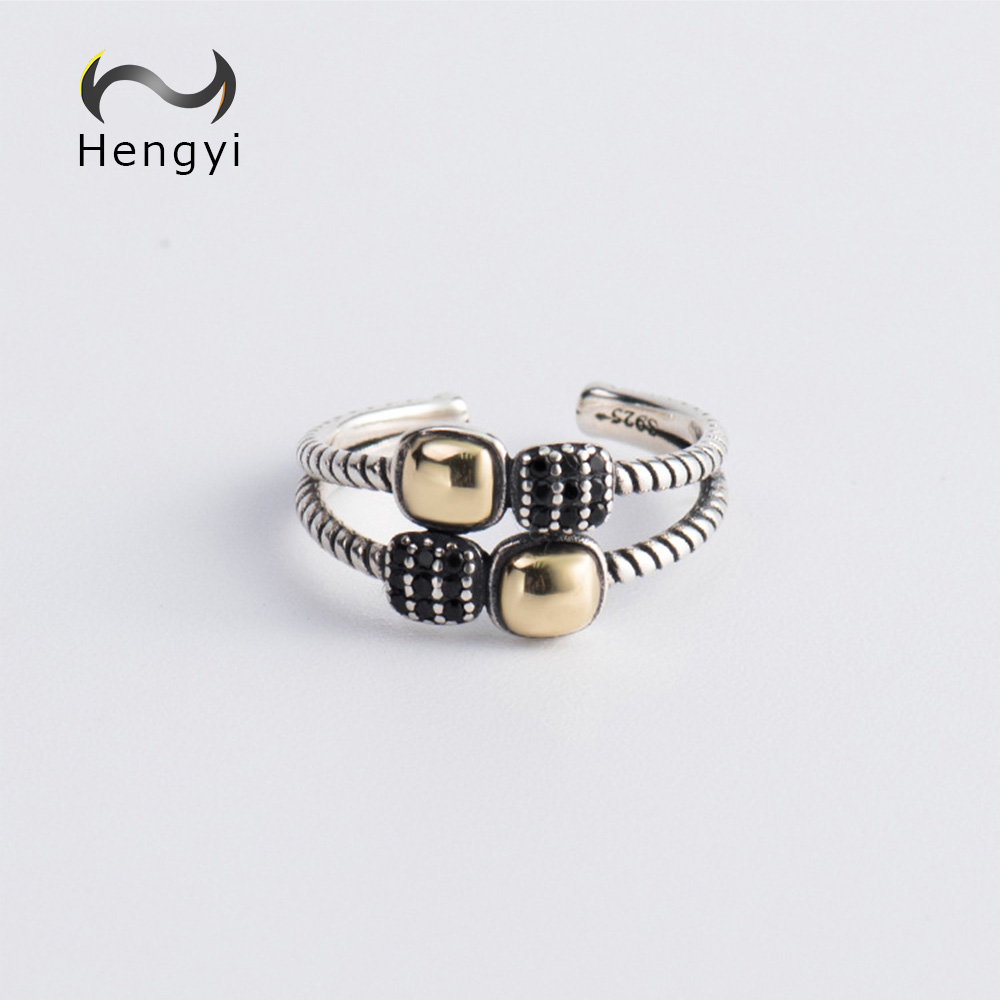 Hengyi Color Mixing Geometric Ring For Women 925 Sterling Silver Trendy Classic Brand Fine Jewerly цены
