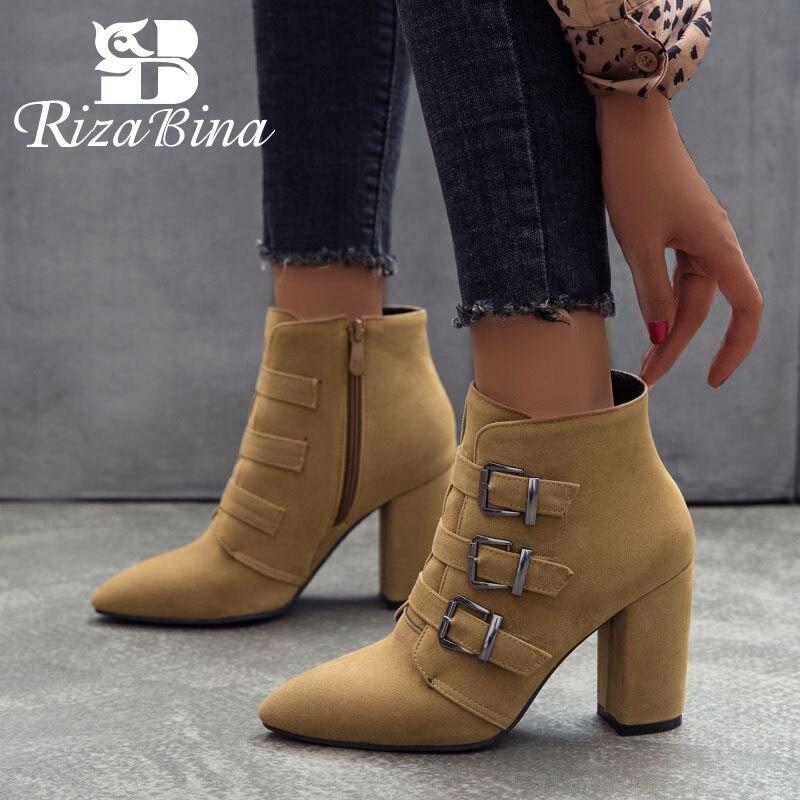 RIZABINA Short Boots Zipper Autumn Plus-Size Winter Fashion Ladies Ankle Buckle 4-Colors
