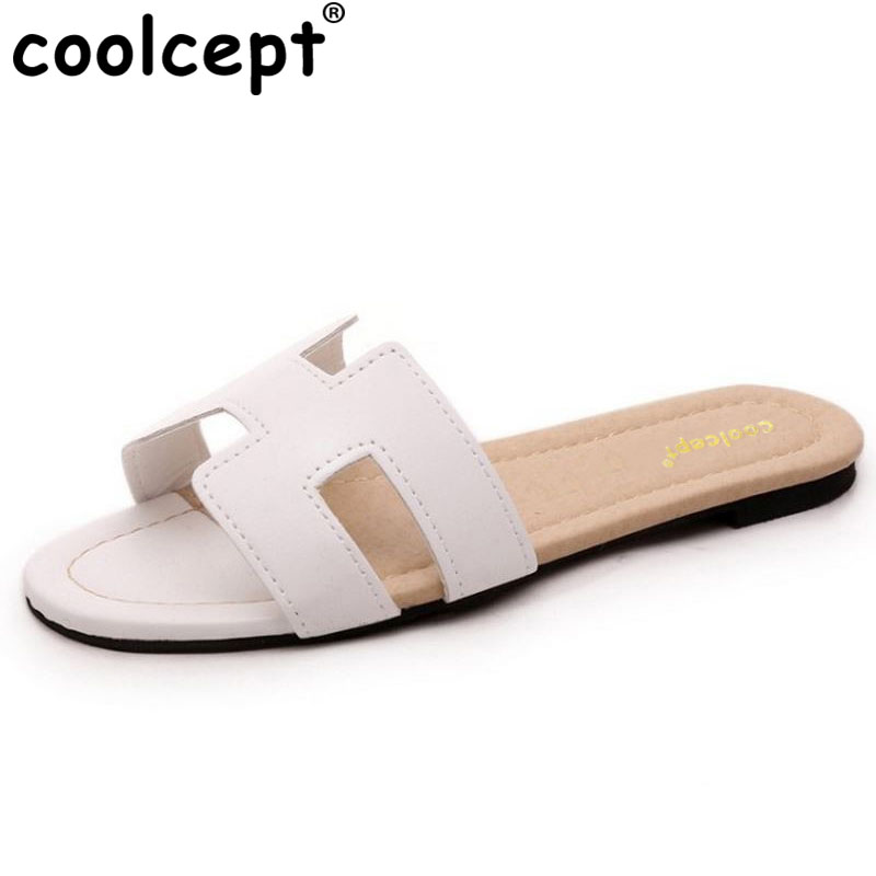 Coolcept size 35-40 women flats sandals brand quality leisure slippers summer shoes beach flip flops news women footwear WB0164 2016 genuine leather sandal shoes brand designer beach flip flops slippers male flat sandals for men 38 44 size