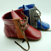 New style Handmade Genuine Leather baby boots First Walkers The lace up baby moccasins gils boy Shoes 12.5 15.5CM free shipping
