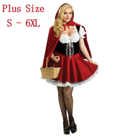 European Full Size S 4XL Halloween Costumes For Women Little Red Riding Hood Cosplay Costume Cute