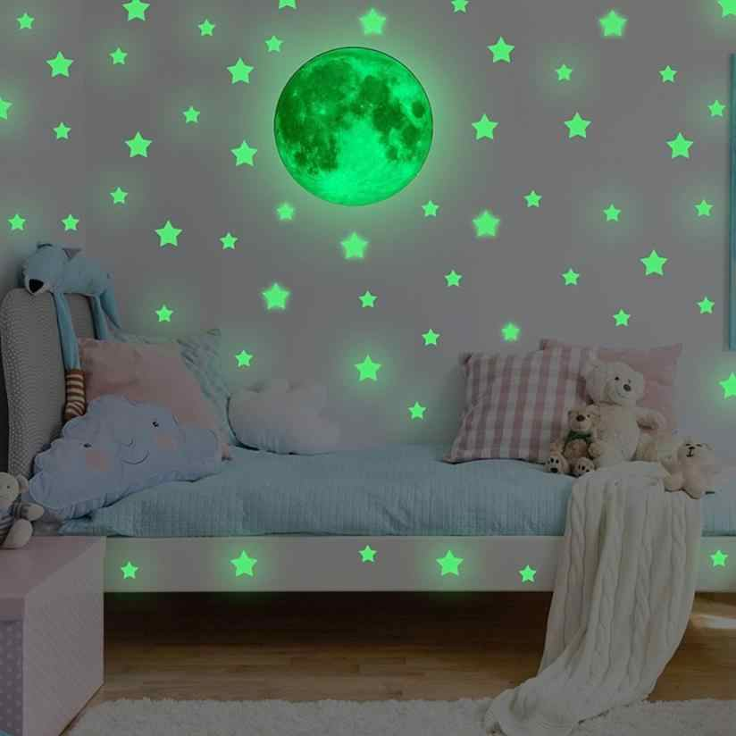 Glow in the dark stars wall stickers Ceiling Stars Moon Stickers star wall stickers home decor for kids D1226