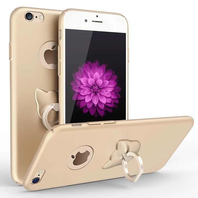 น่ารักโทรศัพท์มือถือกรณีสำหรับ iphone 7 Luxury Hard PC ผู้ถือแหวนนิ้วมือฝาครอบ Coque สำหรับ iphone 5se 5s 5 8 6 s 6 Plus