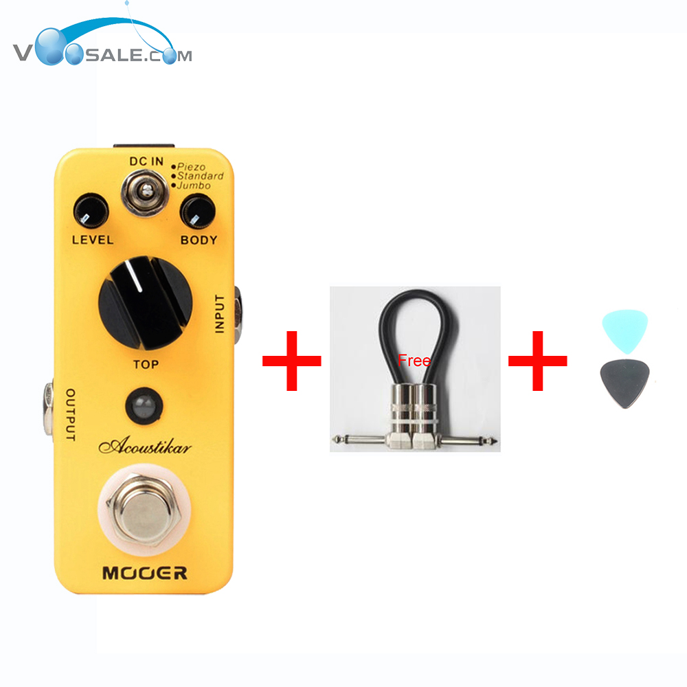 MOOER Acoustikar Acoustic Simulator Guitar Effect Pedal Piezo/Standard/Jumbo 3 Working Modes With True Bypass + Free Cable mooer wood verb reverb digital effects acoustic guitar effect pedal tiny size true bypass mrv3