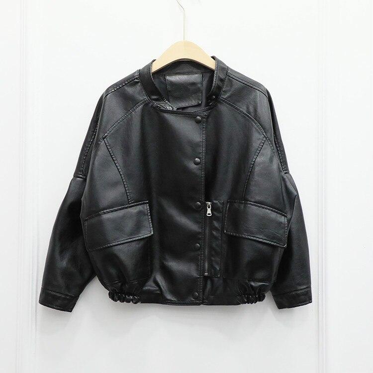 Girls New Arrival Loose Thin Korean Casual Harajuku Short Jacket Female Faux Fur   Leather   Pu Ladies Coat Black Moto Biker Jackets