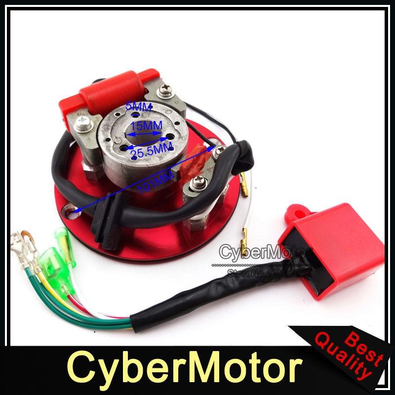 Moto Rouge Racing Magneto Stator Rotor D'allumage CDI Box Pour 110cc 125cc 140cc Moteur Chinois Lifan YX Pit Dirt Moteur vélo