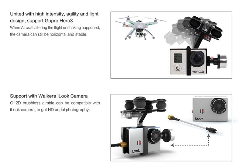Original Walkera G-2D Brushless Gimbal Metal Version For iLook/forGoPro Hero 3 Camera on Walkera QR X350 Pro RC Quadcopter Toy