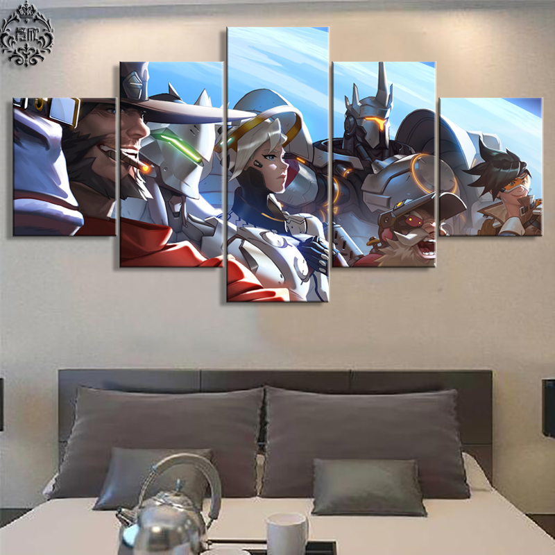 Lærredsmalerier 5 panel Overwatch Wall Art Canvas Printed Poster Modern Home Decor Game Pictures Cuadros Decoration