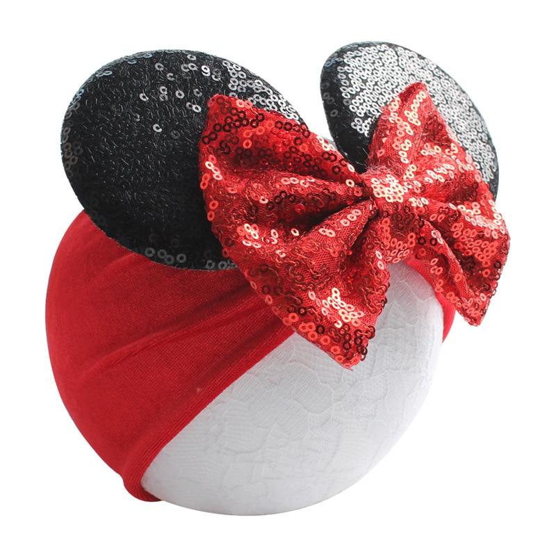 5'' Big Sequin Hairbow Minnie Mouse Headband For Girls Glitter Minnie Mouse Ears Elastic Velvet Headband Kids Hair Accessories