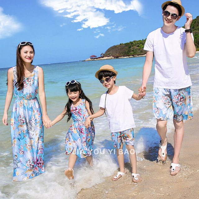 Family Clothes Sets New Summer Style Cotton Floral Printing Sleeveless Bohemian Maxi Dress mother and daughter dress