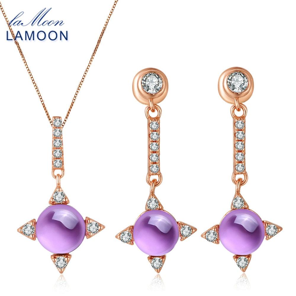 LAMOON Collar Pendiente S925 Set de mujer Star 2.2ct Natrual Amethyst - Joyas