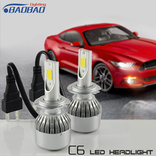 New All In one Compact Design 12V/24 36w 3800lm car led headlight,with perfect hi/low light, C6 LED Headlight
