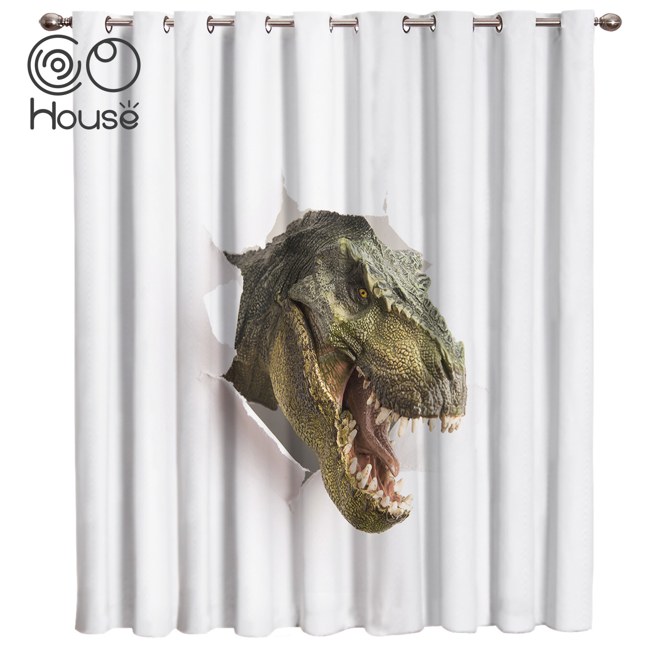 Funny Finosaur Room Curtains Large Window Living Room Kitchen Bedroom Fabric Decor Kids Outdoor Curtains Party