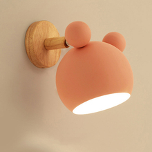 Wooden wall lights bedside wall lamp wall sconce modern wall light for bedroom Nordic Macaron 6 color steering head E27 85-285V