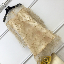 2017 spring and summer Sweet women sexy see though butterfly sleeve rhinestones squined Knee-length Mesh cake dress robe femme