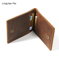LingJiao Pai VintageCasual Travel Mini ID Holders Business Credit Card Holder PU Leather Slim Bank Case Purse Wallet