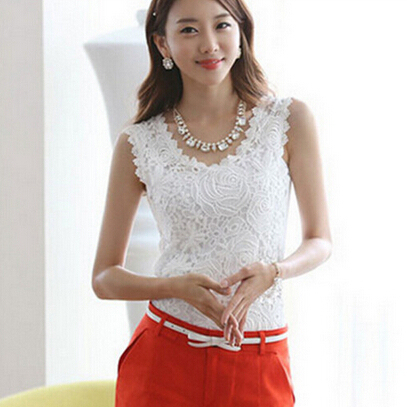 The Women's Cotton Knit Lace Sleeveless Tank Tops,