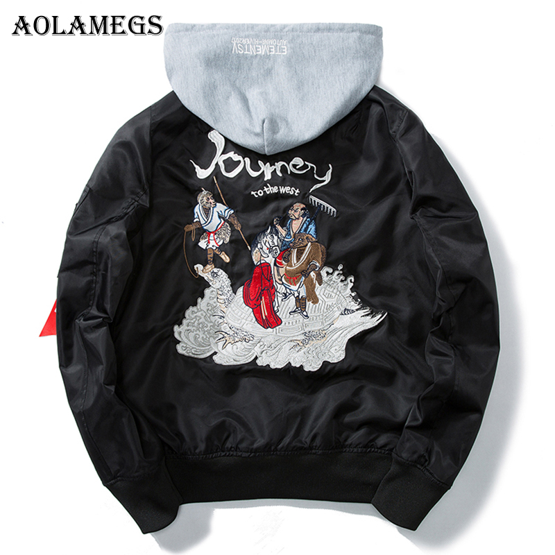 Aolamegs Bomber Jacket Men Journey To The West Hooded Plus Size Men's Jacket Hip Hop Outwear Autumn Men Coat Baseball Jackets