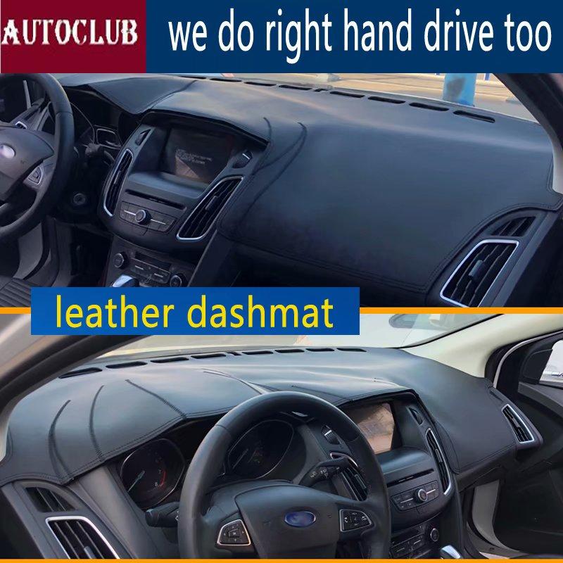 Pour Ford focus 2012-2018 cuir Dashmat couverture de tableau de bord voiture Pad Dash Mat parasol tapis couverture 2013 2014 2015 2016 2017