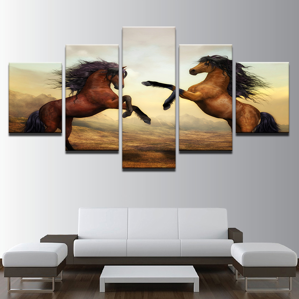 Home Decor Wall Art Framework Canvas Paintings 5 Pieces Sunset Brown Horses Pictures For Living Room HD Prints Animal Posters