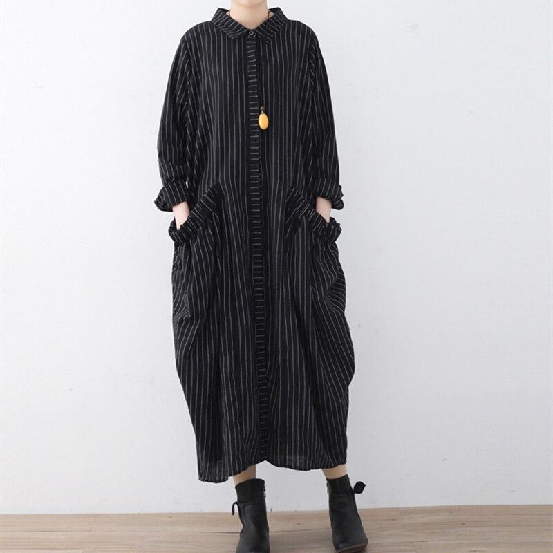 Kadın Giyim'ten Elbiseler'de Johnature 2019 Bahar Kadınlar turn aşağı Yaka Elbiseler Yeni Rahat Büyük Boy Çizgili Ruffles Cepler Usulsüzlük Uzun Elbiseler'da  Grup 1